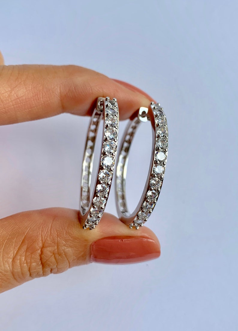 18K gold Cz loop earrings 18K White gold layered CZ earrings 35MM AAA Cubic zirconia loop earrings 13 round diamond cut CZ loop earrings