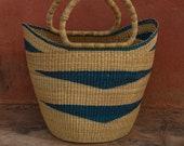 Straw Beach Basket Shopping Basket Bolga U-shopper basket Blue natural straw bolga basket