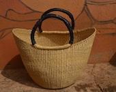 Summer Beach Basket Shopping Basket Bolga U-shopper basket Natural straw bolga basket