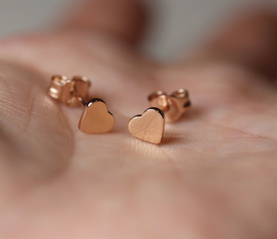 Yellow and White Gold Minamalist 14K Heart Stud Earrings with Screwback