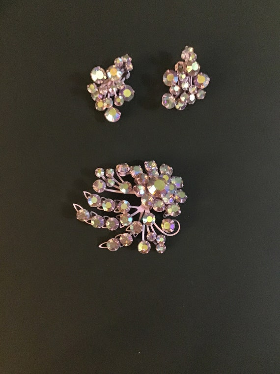 Purple irredescent brooch and clip on earrings