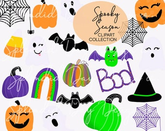 Halloween pumpkin clip art, fall clip art, Halloween rainbow, happy fall, ghosts, spider, bats, pumpkin stickers, png, commercial use