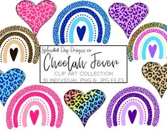 Cheetah rainbow clip art   Cheetah heart clip art   cheetah print   heart   cheetah clip art   rainbow   pink   blue   purple   commercial