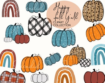 Fall pumpkin clip art   fall clip art   autumn rainbow   happy fall   fall y'all   pumpkin stickers   cheetah   plaid   png   commercial use