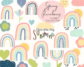 Spring rainbow clip art   Spring flowers clipart   commerical use   sunshine clipart   Hand drawn   png   Hearts   Clouds  digital download
