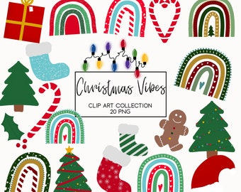Christmas clipart, Christmas rainbow, winter clipart, clipart for classroom, Christmas decorations, gingerbread, lights, png, commercial use