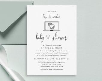 Virtual Baby Shower Invitation Template, Digital Baby Shower Invite, Long Distance baby shower,Text baby shower,Email baby shower,Printable