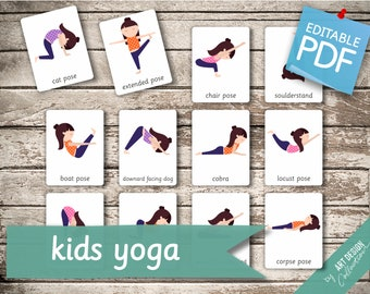 Kids Yoga Cards Etsy