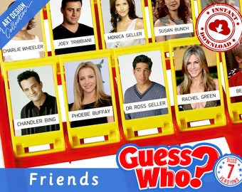 Guess Who? FRIENDS Insert Cards • Montessori cards • Party Games Nomenclature Cards PDF Printable Cards preschool Toys Flash Cards Game