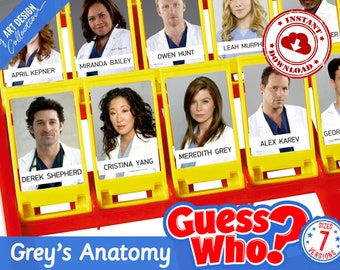 Guess Who? GREY'S ANATOMY Insert Cards • Montessori cards • Party Games Nomenclature Cards PDF Printable Cards preschool Toys Flash Cards