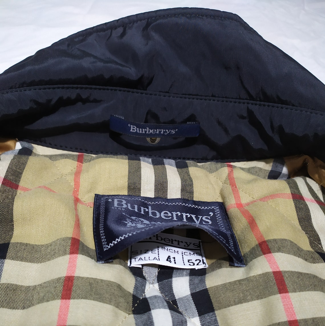 Burberry London Coat, Vintage Jacket Men's, Black Burberrys Men Size Xl - 41 Inch, Nova Check Plaid, Cotton