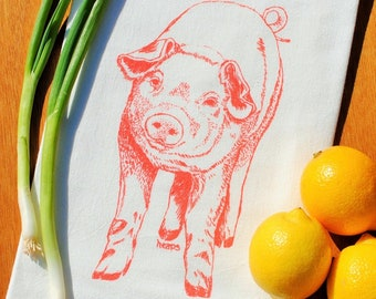 Cotton Flour Sack Material Orange Pig Design Tea Towel Cottage Animal Theme Cute Kitchen Towel for Housewarming or Wedding Gift