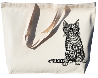 Canvas Shopping Tote Bag Cat with Big Eyes Pets Animals Vintage Hairy Dog Beach Bags for Women