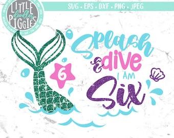 under the sea 6th birthday mermaid SVG PNG Files for cutting machines sea digital clipart sea shells mermaid tail six birthday