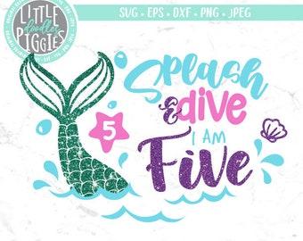 Five Mermaid Birthday, SVG PNG Cut File, I am Five SVG, Mermaid Birthday 5, Mermaid 5th Birthday Svg