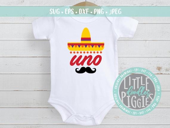 Uno Birthday Svg Png Cut File Sombrero One Svg Fiesta Etsy