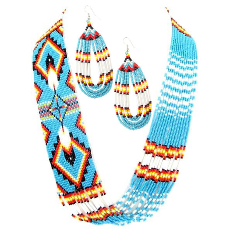 Gorgeous Hand Crafted Beaded Turquoise Blue Feather Design Layered Jewelry SetNative American Necklace SetTribal JewelryGifts for Her