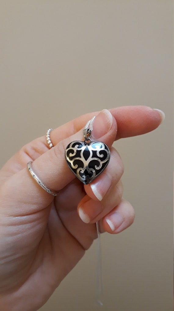 1980s Heart Shaped Pendant Necklace - Silver and B