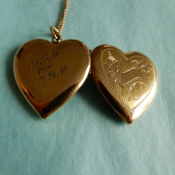 Mid-century Heart Locket Necklace
