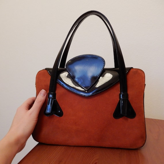 1960s Rust Orange Suede and Patent Leather Handbag