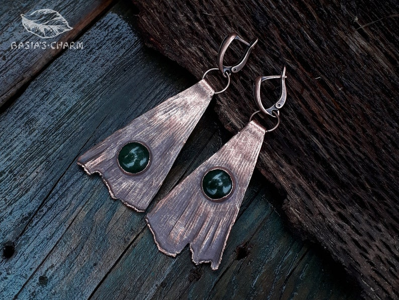 Nature Inspired Green Jade Asymmetrical Earrings Gemstone Collection Real Ginkgo Leaf with Jade Earrings