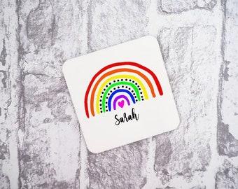 Personalised Rainbow Name Coaster