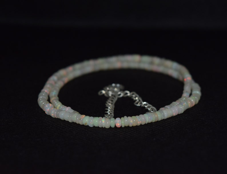 38.42 Cts 16 Natural Fire Play Welo Ethiopian Opal Beads Necklace for Women
