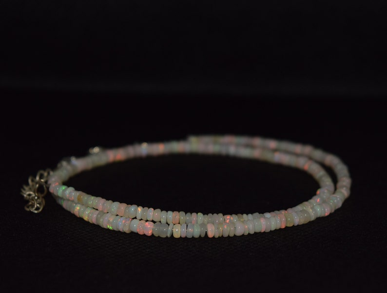 39.24 Cts 16 Natural Fire Play Welo Ethiopian Opal Beads Necklace for Women
