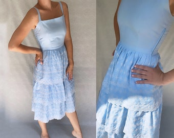 Handmade light blue strap dress with white floral embroidery