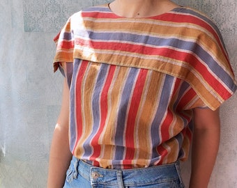 Boho striped top tied at the back in beautiful brown, blue and red tones