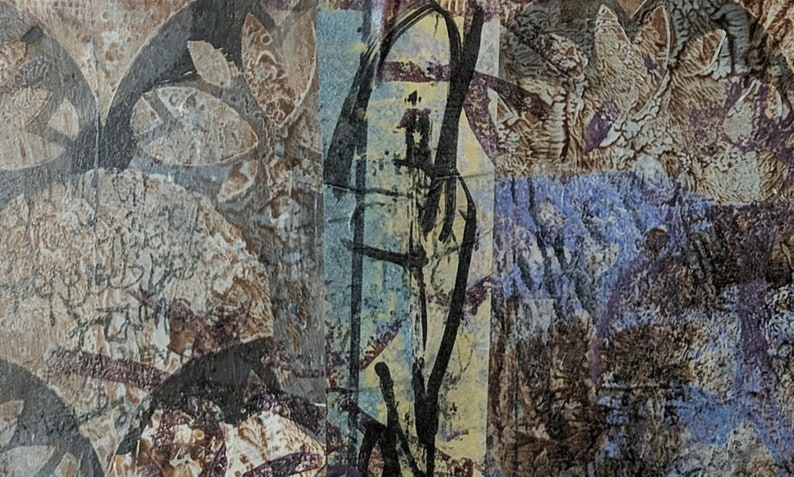 Acrylic Painting Original Abstract Art Mixed Media Collage 11x9 with mat Reopen the Dream Machine 1