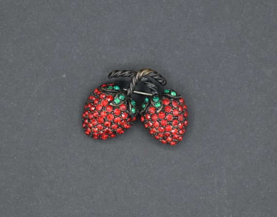 Austria Brooch Pin and Clip-On Earrings  Red Glass Strawberry and Rhinestones  Japanned Finish