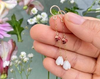 Ombr\u00e9 Kahelelani Threader Style Earrings Minimalist Niihau Shell Jewelry