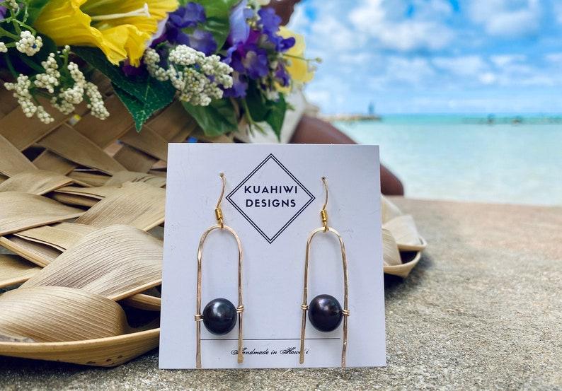 Minimalist Hawaiian Jewelry Freshwater Pearl and Hammered U Gold Earrings