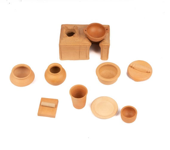 Terracotta Earthen Clay Miniature Kitchen Set With Chulha Etsy