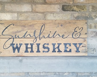 Black /& White Bachelor Bar Kitchen Sunshine and Whiskey Hand Painted Wood Sign Western Country Wall Art Patio Drinking Deck Wedding
