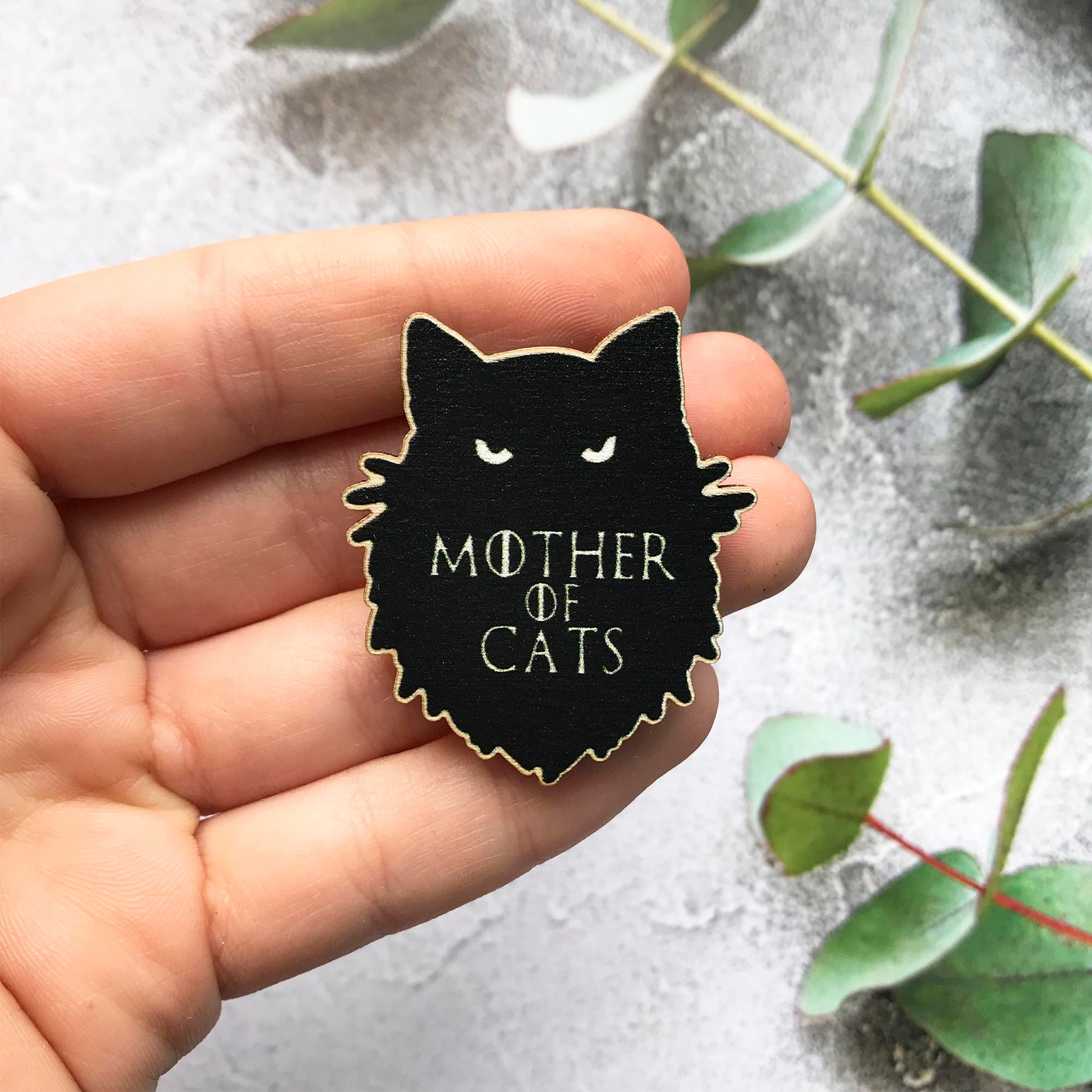 Mother of Cats Wooden Brooch