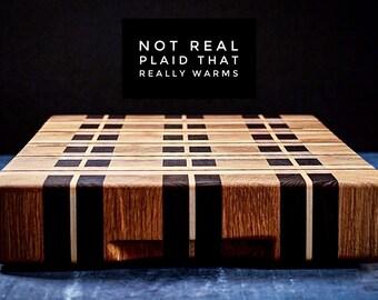 End grain cutting board plaid style
