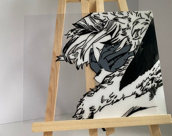 Hawks anime glass painting/portrait