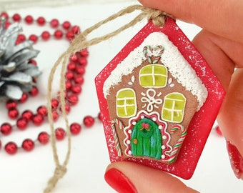 Christmas Clay Gingerbread House Ornament for First Home Gift, Christmas Gingerbread House Clay Housewarming favors or Gifts for Clients