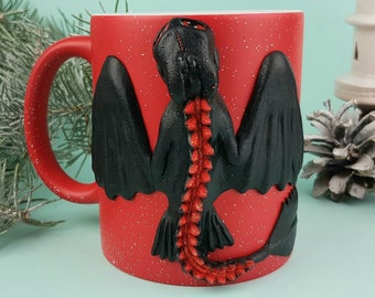 Black Dragon Sculpture on Mug, Polymer Clay Dragon Power for Birthday Gift, Made to Order Cup Dragon Best gifts for her or him