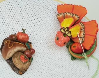 Set Dragon Needle Minders Apple and Mushroom for Cross Stitch, Needle Holder Dragon Orange Green, Magnetic Sewing Cross Stitch Notion