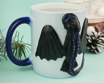 Black Dragon Sculpture on Changing Mug, Polymer Clay Dragon Cup Power for Birthday Gift, Dragon Mug Gifts for Him or Her
