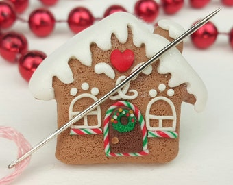 Gingerbread House Needle Minder Magnetic for Holiday Cross Stitch Embroidery, Clay Magnet Cute Cover Minders for Diamond Painting