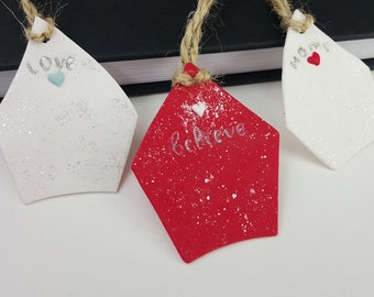 Christmas Clay House Ornament, Christmas Clay Tags House for Tree Decor or Cute Clay Gift For Friend