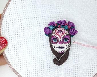 Floral Sugar Skull Needle Minder for Cross Stitch Skeleton Embroidery Santa Muerte Cover Minder for Sewing Notion