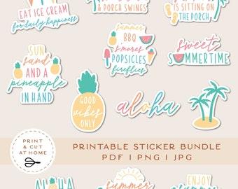 Summer Stickers, Holiday Printable Stickers Bundle, Craft Vinyl Sticker, Laptop Decal, DIY Cricut PNG Stickers, Print & Cut Sticker