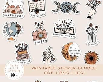 Printable Stickers Bundle, Floral Vinyl Sticker, Laptop Decal, Moon Book Star Clipart, Botanical Cricut PNG Stickers, Print & Cut Sticker