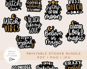 Witch Stickers, Magic Printable Stickers Bundle, Moon Vinyl Sticker, Laptop Decal, DIY Cricut PNG Stickers, Print & Cut Sticker