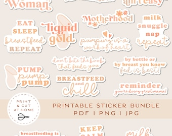 Breastfeeding Printable Stickers Bundle, Motherhood Addict Vinyl Sticker, Motivational Stickers, Mommy Print and Cut Cricut Stickers